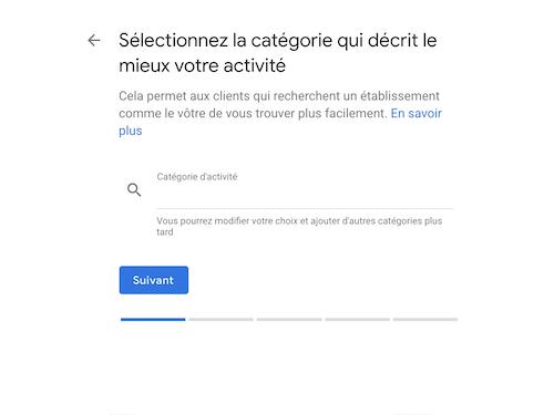 Google my business catégories