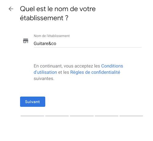 Google my business établissement